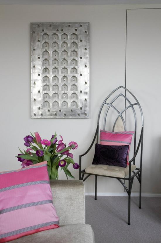 farbgestaltung und bunte wohnideen rosa pink dekokissen