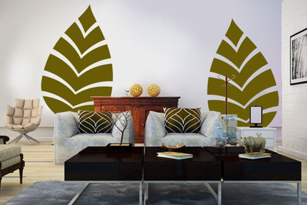 frische wohnideen grün wohnzimmer abdruck palmwedel musetr prints