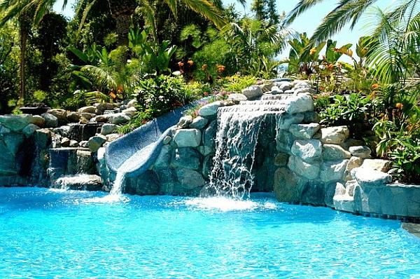 Garten Pool Außenbereich Innenhof Rutsche
