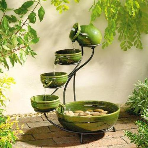 garten dekoration selber machen grünes porzellan