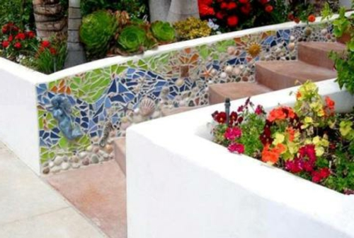 garten dekoration selber machen kunstvoll verzierte bordüre mosaik