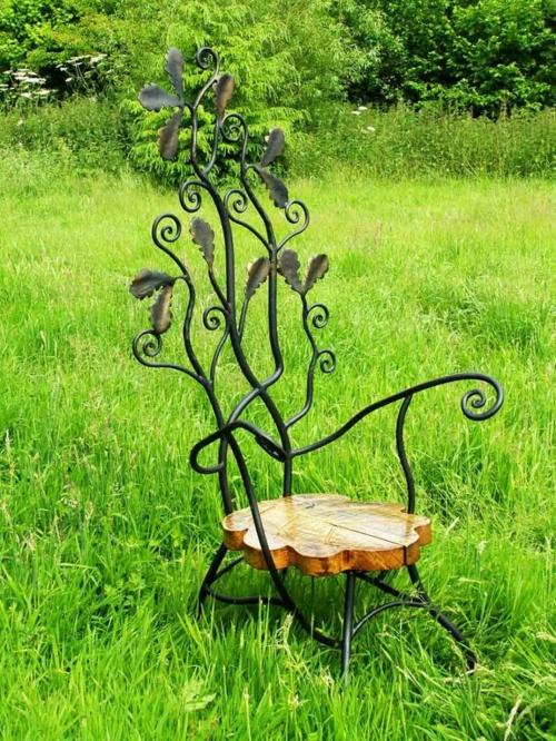 gartenmöbel ideen künstlerisch stuhl rücklehne holz sitz