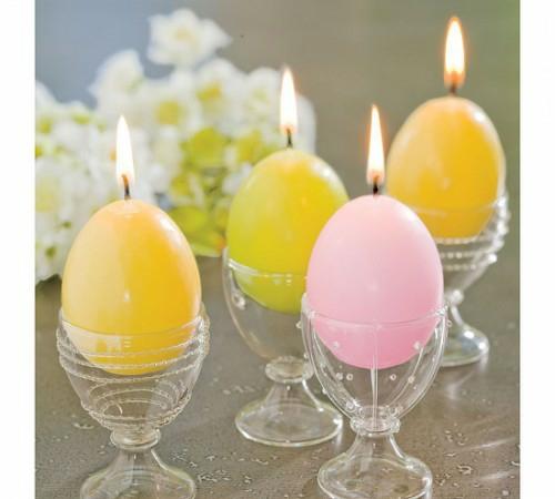 glühende kerzen bunt bemalt ostereier eierhalter plastik