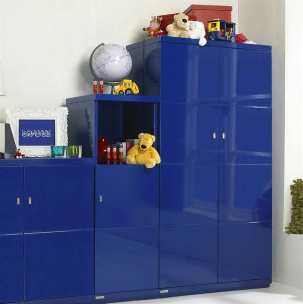 glanzvoll blau kleiderschrank regale schubladen kinderzimmer
