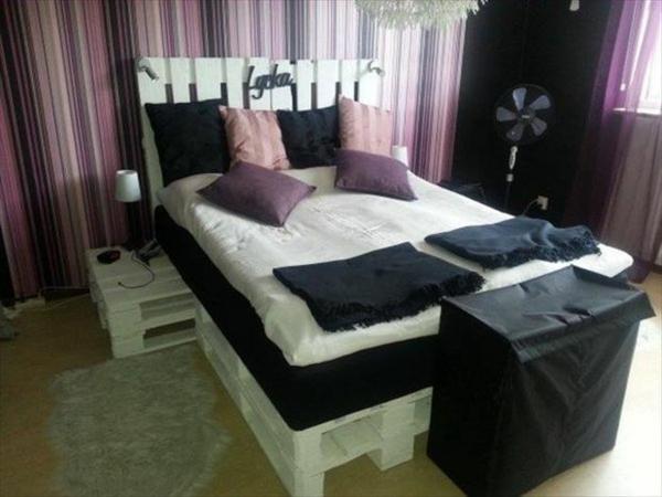 holz paletten möbel selbst basteln DIY ideen bett