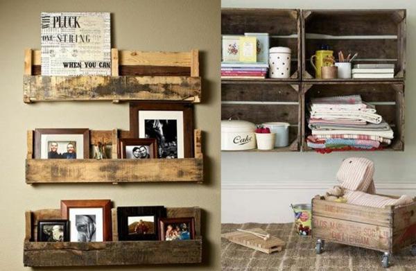 holz paletten möbel selbst basteln DIY ideen bilderrahmen