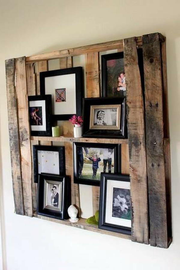 holz paletten möbel selbst basteln DIY ideen fotos bilderrahmen