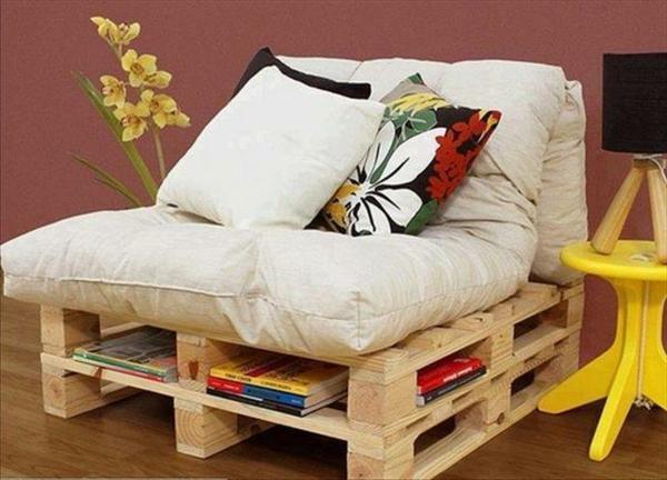 holz paletten möbel selbst basteln DIY ideen gelb lackiert