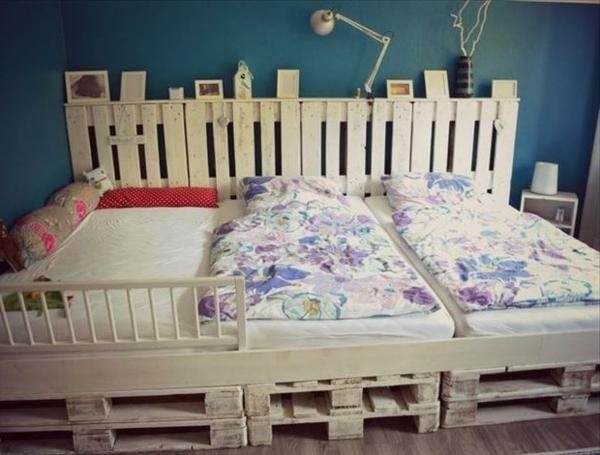 holz paletten möbel selbst basteln DIY ideen kopfteil
