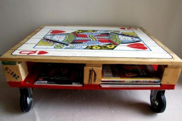 holz paletten möbel selbst basteln DIY ideen rollen tischregal