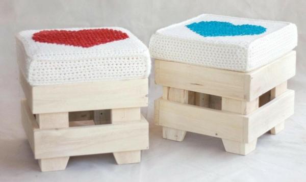holz paletten möbel selbst basteln DIY ideen süße hocker