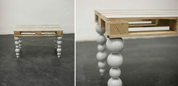 holz paletten möbel selbst basteln DIY ideen tischbeine