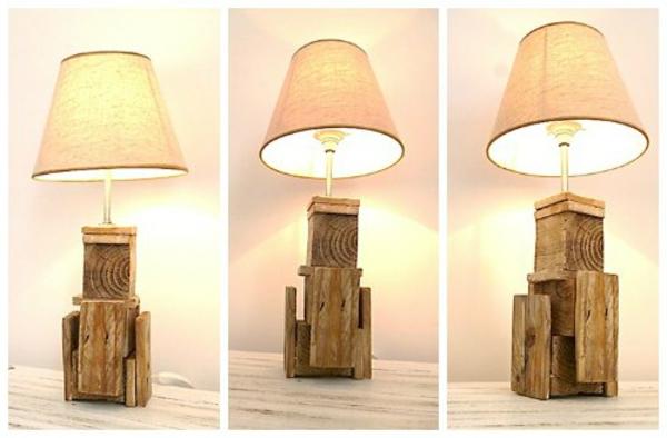 holz paletten möbel selbst basteln DIY ideen tischlampe lampenfuß