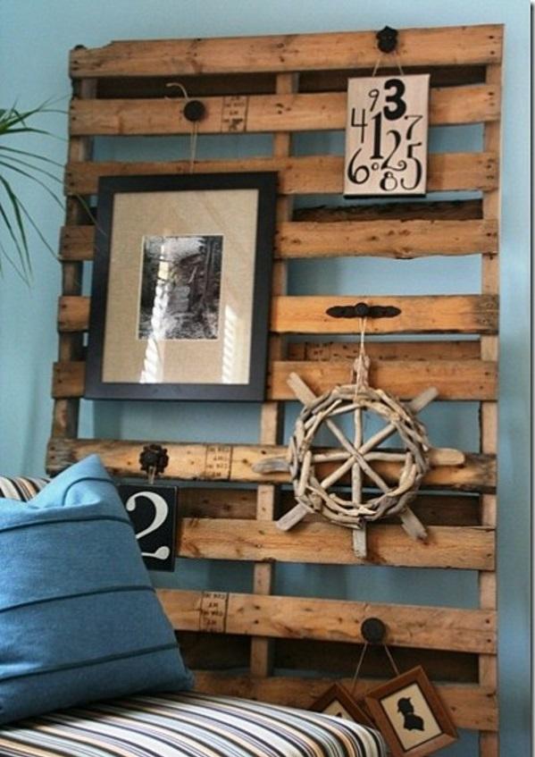 holz paletten möbel selbst basteln DIY ideen wandgestaltung