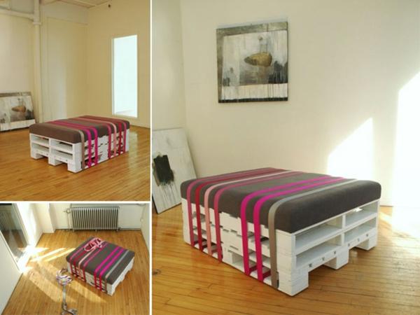 holz paletten möbel selbst basteln auflagen gestreift
