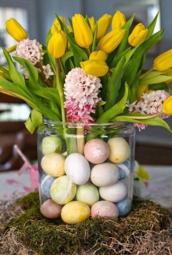 ideen osterdeko basteln deko glas tulpen ostereier