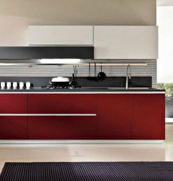 ikea küchenschrank glatte linien rote küche
