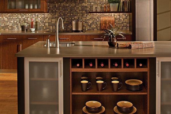 küche möbel weinflaschen tassen