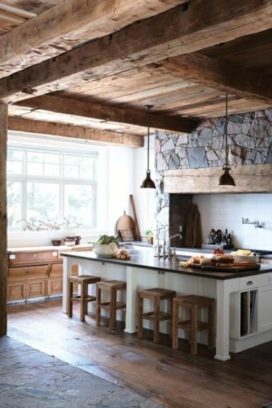 küchenideen coole einrichtungsideen holzeinrichtung steinwand