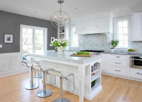 küchenrückwand kücheninsel barhocker blumentopf