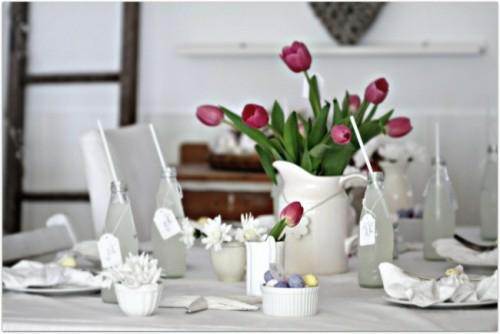 keramisch blumen tulpen dunkel tischdeko