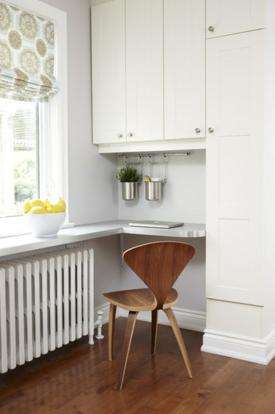 kleines heimbüro einrichten nische arbeitsplatte küche