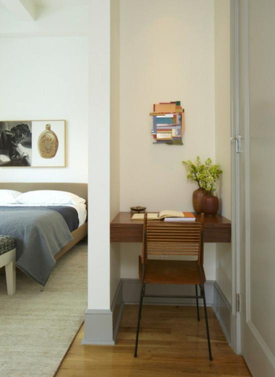 kleines heimbüro einrichten nische schreibtisch holzmöbel nische