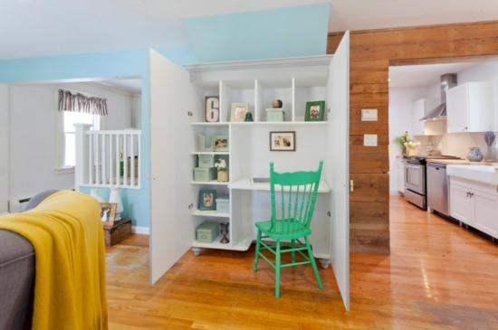 kleines heimbüro nische schreibtisch kleiderschrank