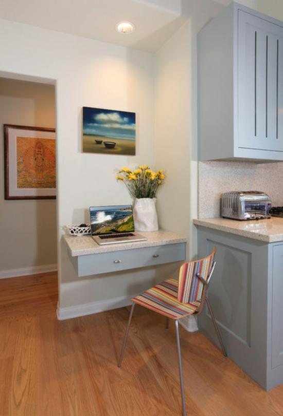 kleines heimbüro einrichten nische schreibtisch schublade stuhl