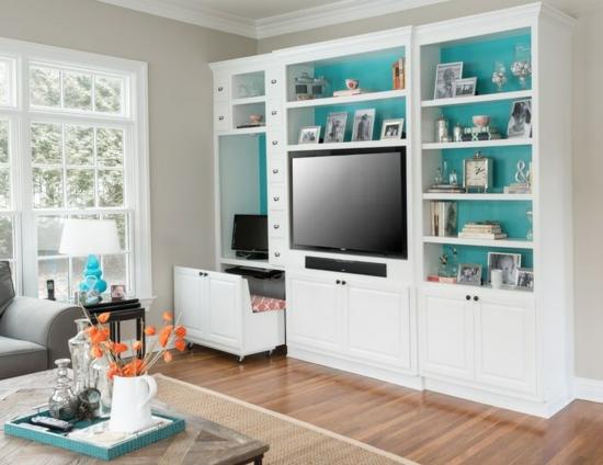 kleines heimbüro einrichten nische schreibtisch wohnzimmer nische