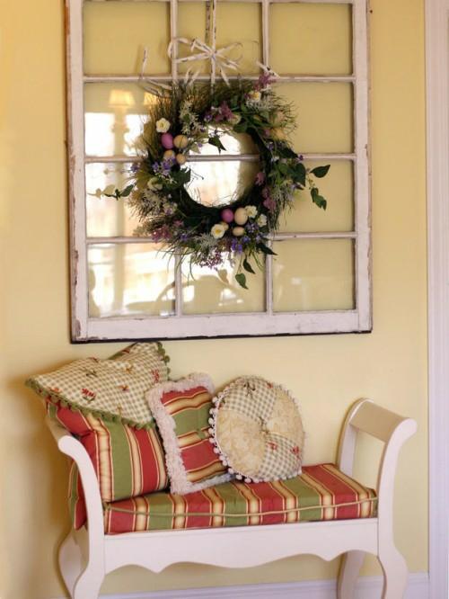 kranz ostereier bunt fenster klein couch dekorativ