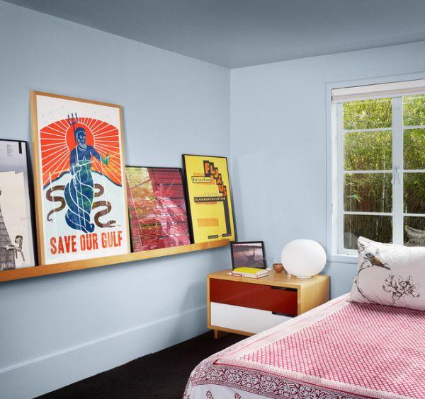 kreative außergewöhnliche wandgestaltung schlafzimmer regal gemälde
