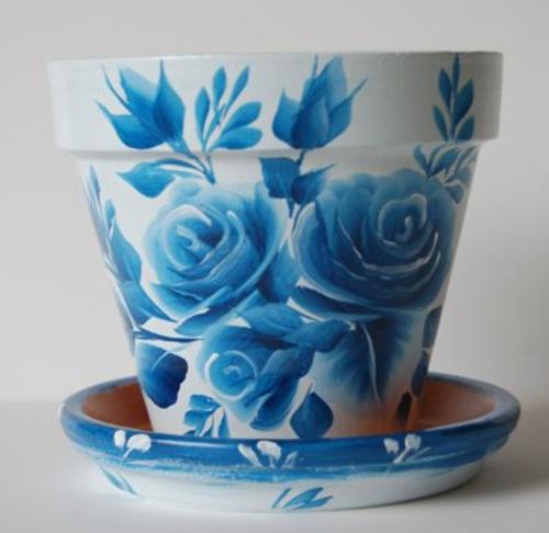 kreative blumentöpfe blaue rosen