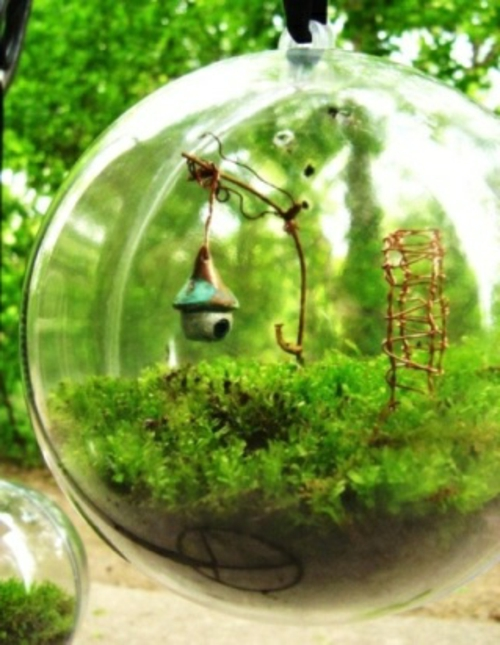 originelle dekoideen glassphäre minigarten