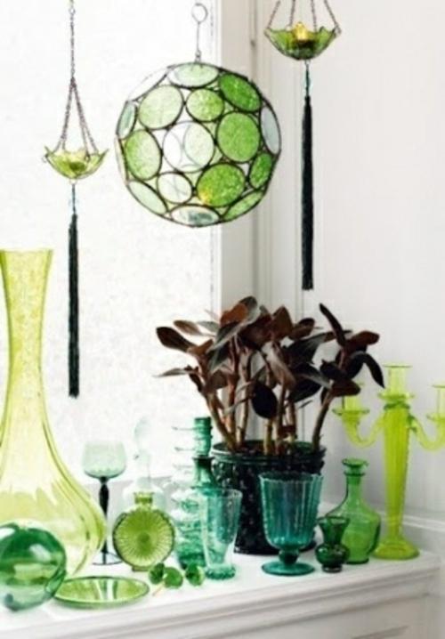 originelle dekoideen grünes glas anhänger