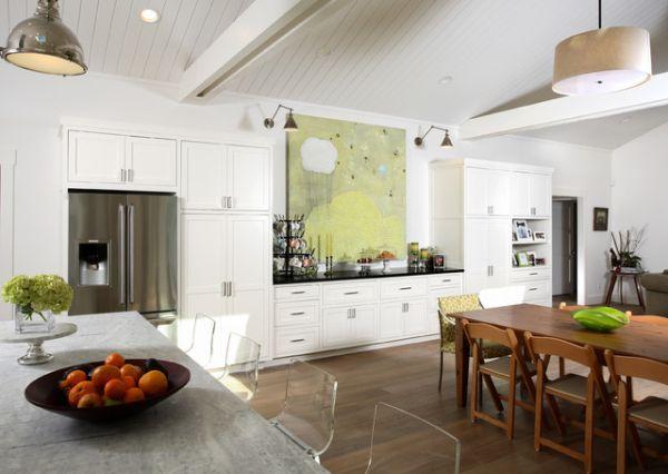 kreative wandgestaltung esszimmer küche wandgemälde grün