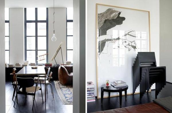kreative wandgestaltung esszimmer künstlerische atmosphäre