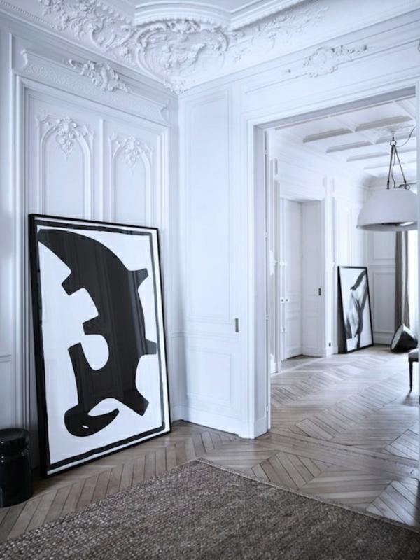 kunstwerk kreative wandgestaltung schwarz weiß nicht aufgehämgt