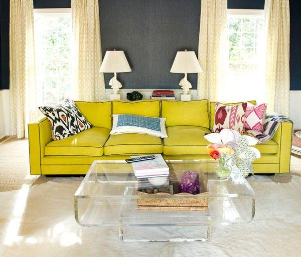 möbel aus acryl couchtische sofa gelb wohnzimmer