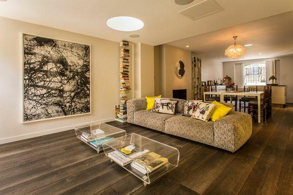 möbel aus acryl couchtische sofa wohnzimmer holzboden wandgemälde
