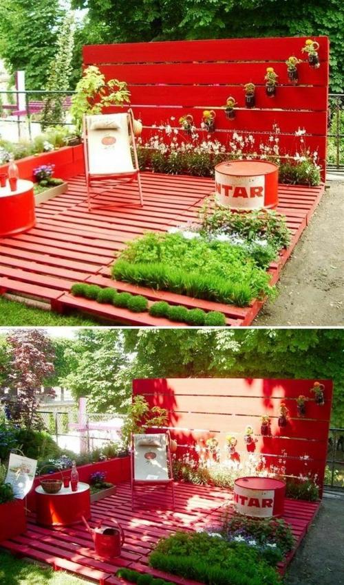 möbel paletten kräutergarten klappstuhl rote farbe