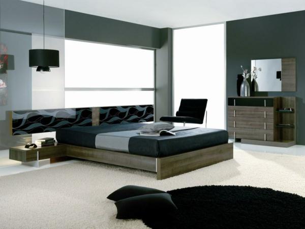schöner Kleiderschrank im Schlafzimmer schwarz weiß