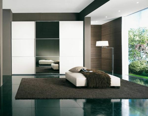 minimalistisch schlafzimmer teppich bett holz textur garderobe