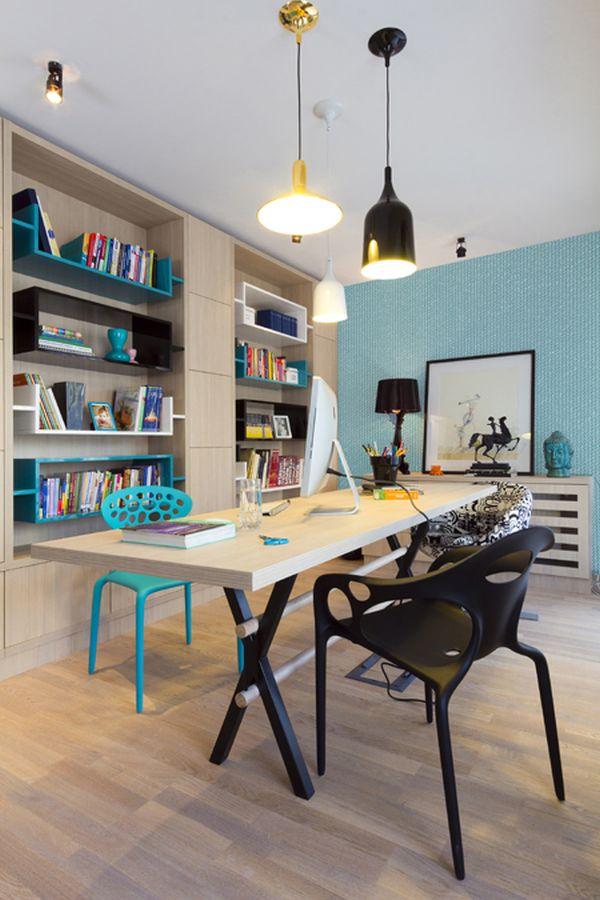 modernes apartment mit lebendiger farbpalette nicola katrib arbeitszimmer