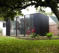Kubus Gartenhaus dient als Hausbibliothek