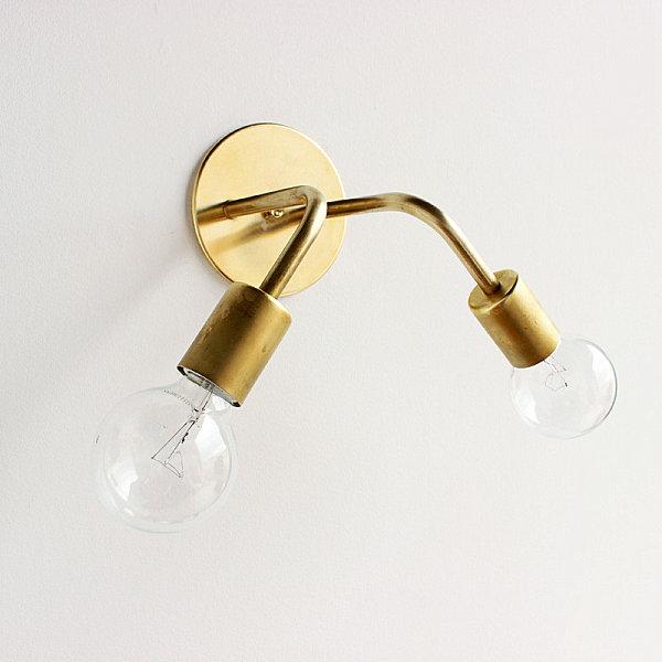 natürliche Materialien und Stoffe im Innendesign wandlampe glühbirne