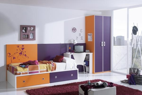 orange lila farben teppich weich einzelbett Kleiderschrank fürs Kinderzimmer