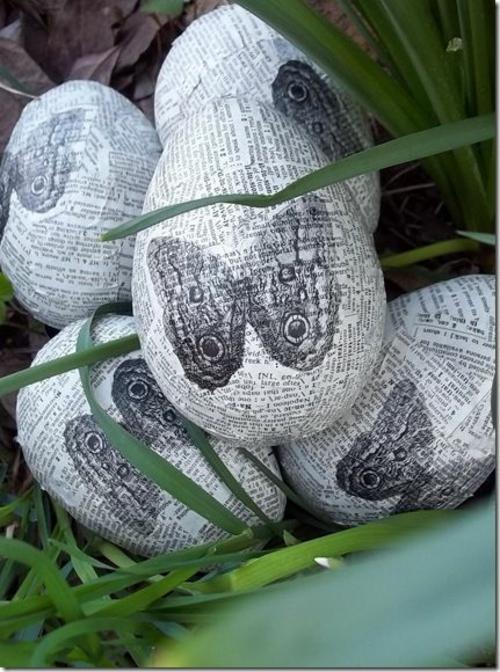 originelle osterdekoration decoupage eier zeitungen