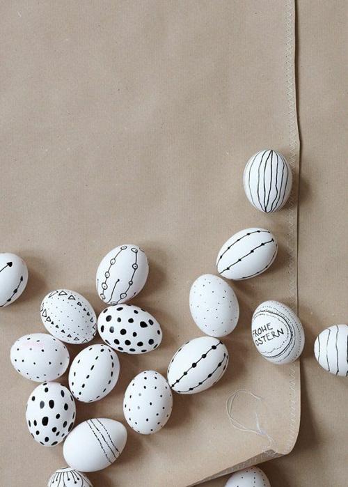 originelle osterdekoration minimalistisch filigran schwarz weiß