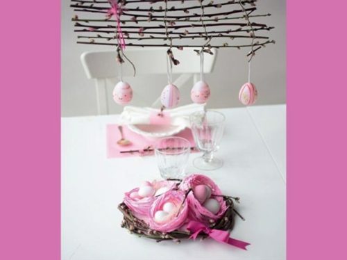 osterdekoration weige rosa eier